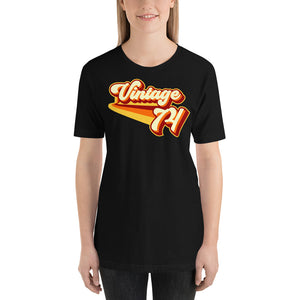 Vintage 1974 Warm Retro Lines SLIM FIT Short-Sleeve Unisex T-Shirt
