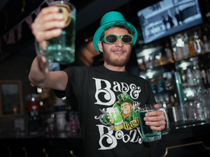 Bad and Boozy Funny St. Patrick's Day Irish Leprechaun Drinking Green Beer Party T-Shirt - Styleuniversal