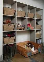 Basket storage in shelving for utility room