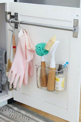 kitchen storage - hanging cleaning supplies inside cabinet door - the sage haven