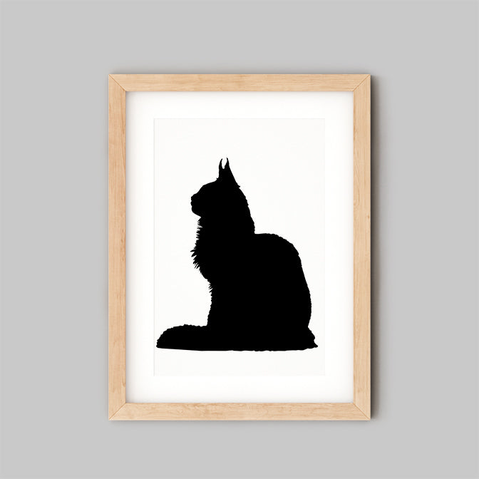 framed silhouette print of cat