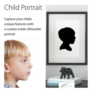 custom child silhouette art - 12x10 - child protrait - the sage haven ireland