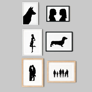 collection of framed custom silhouette prints