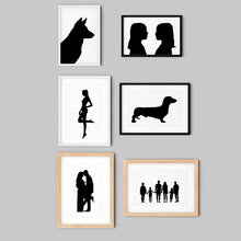 Load image into Gallery viewer, collection of framed silhouettes on wall