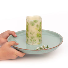 Load image into Gallery viewer, hands holding Leaf Print Unscented Candle - the sage haven ireland