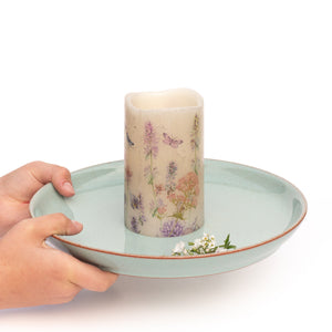 hands holding Butterfly Garden LED Wax Candle - the sage haven ireland