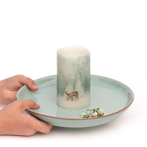 Flameless Christmas Candles centrepiece - Handcrafted Woodland Deer Design - the sage haven ireland