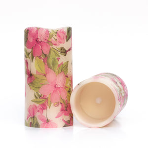 set of led battery candles with pink floral design