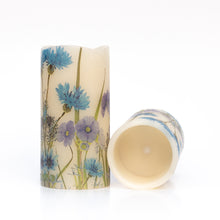 Load image into Gallery viewer, set of 2 Cornflower Blue Electric Pillar Candles - the sage haven ireland