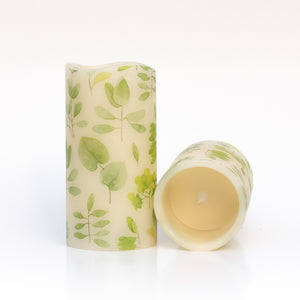 set of 2 Leaf Print Unscented Candles - the sage haven ireland