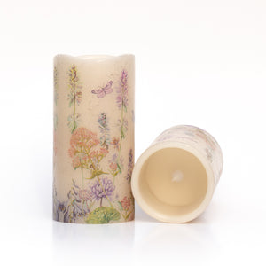 set of led wax candles with wildflower design