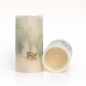 set of 2 Flameless Christmas Candles - Handcrafted Woodland Deer Design - Woodland Deer Decor - the sage haven ireland#