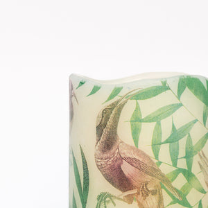 details of Tropical Birds Unscented Pillar Candle - the sage haven ireland