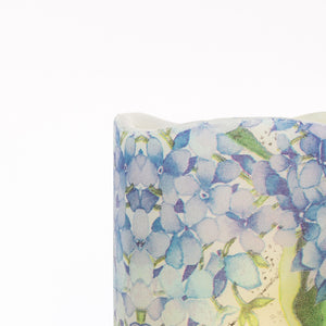 detailed pattern Blue Hydrangea Flameless Pillar Candles - the sage haven