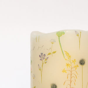 botanical art on white led candle