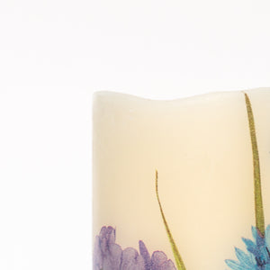 details of Cornflower Blue Electric Pillar Candle - the sage haven ireland