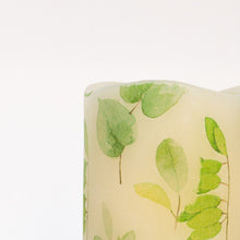 Load image into Gallery viewer, details of Leaf Print Unscented Candle - the sage haven ireland