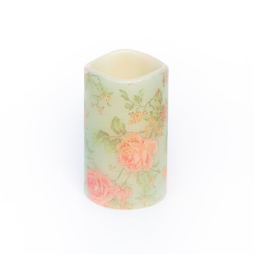 flameless candle with shabby chic floral design