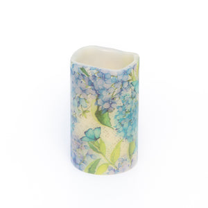 blue hydrangea flameless pillar candle handcrafted by the sage haven