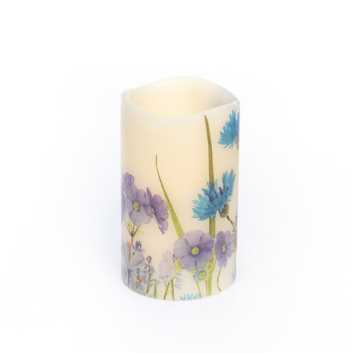 cornflower blue electric pillar candle - the sage haven ireland