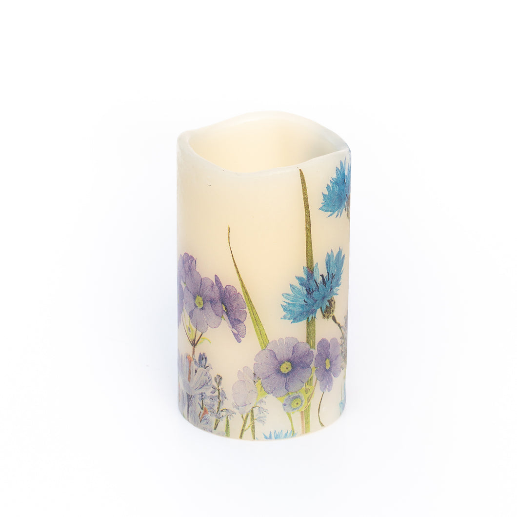 white led candle with blue cornflower design