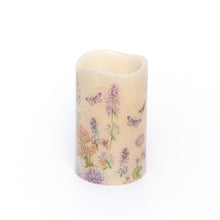 Load image into Gallery viewer, Handcrafted LED Wax Candle with wildflower design