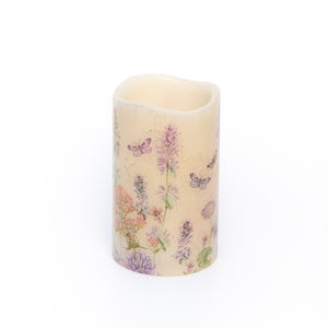 Handcrafted LED Wax Candle with wildflower design