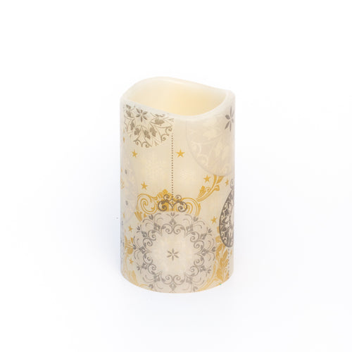 Battery Operated Christmas Candle with gold and silver design