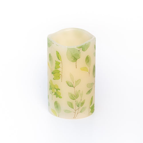 unscented led candle with green leaf print