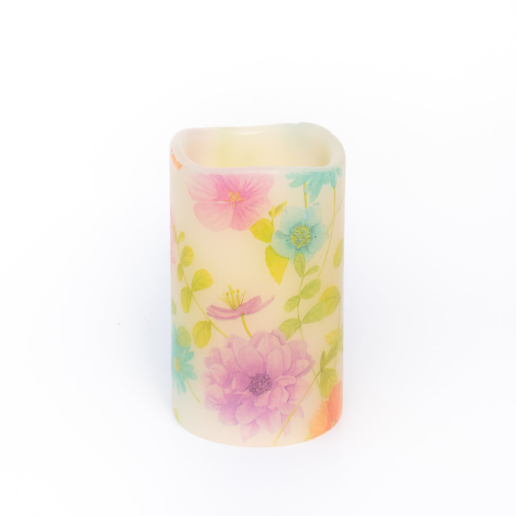 LED Wax Pillar Candle with floral pattern