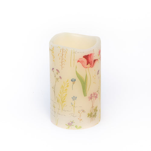 led candle with botanical art design