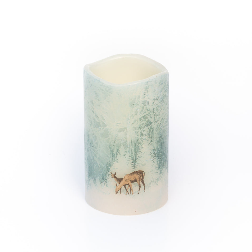 Flameless Christmas Candles - Handcrafted Woodland Deer Design - the sage haven ireland