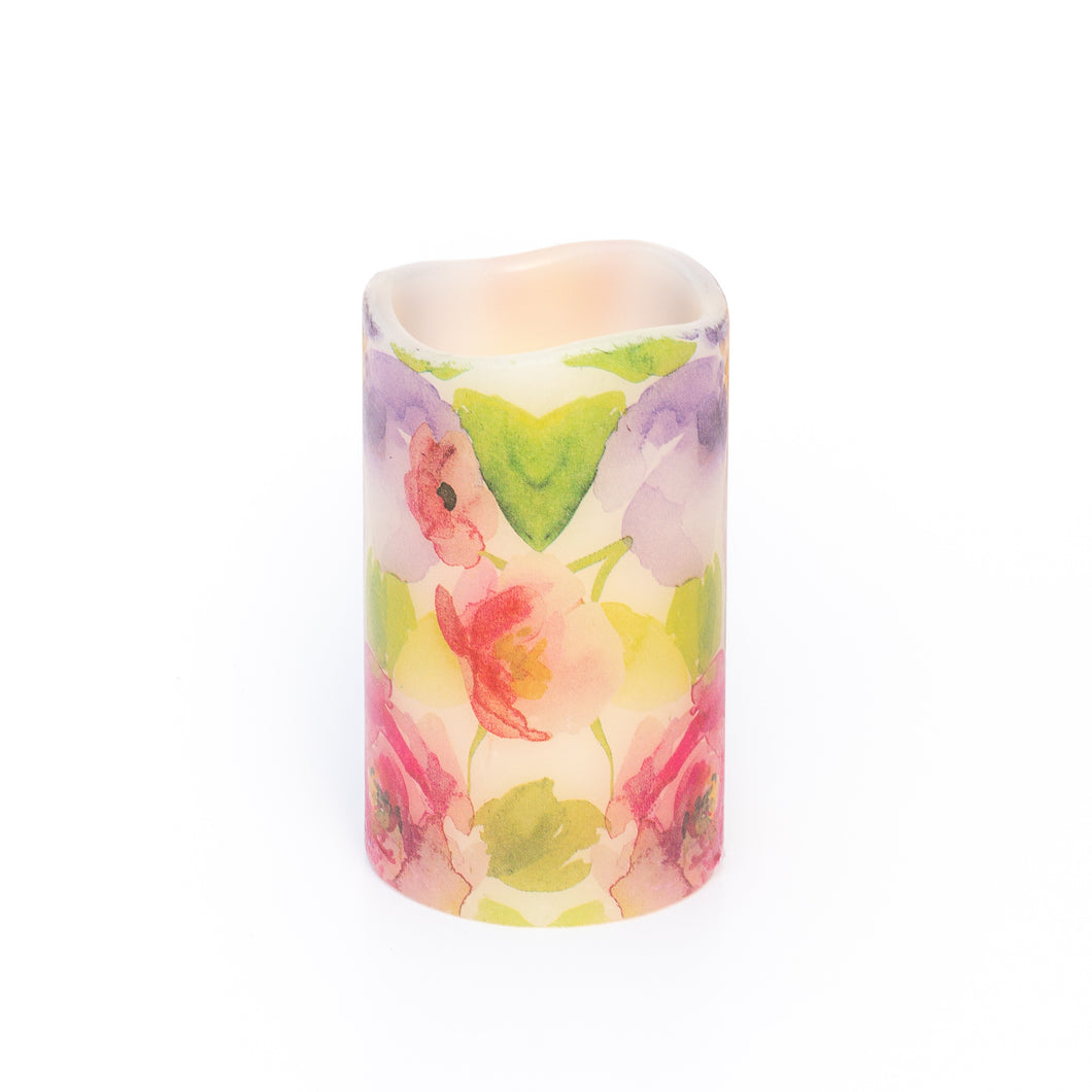 Watercolours LED Wax Pillar Candle - the sage haven ireland
