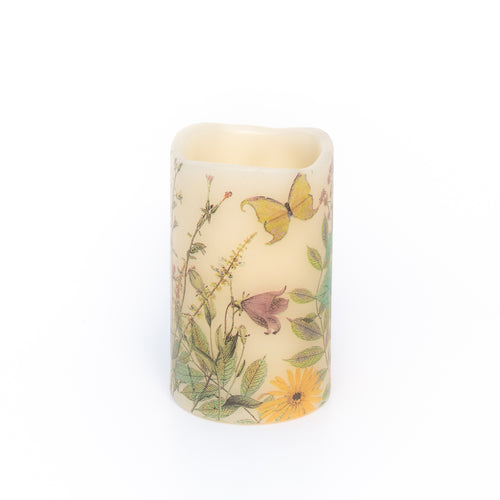 battery candle with wildflower design