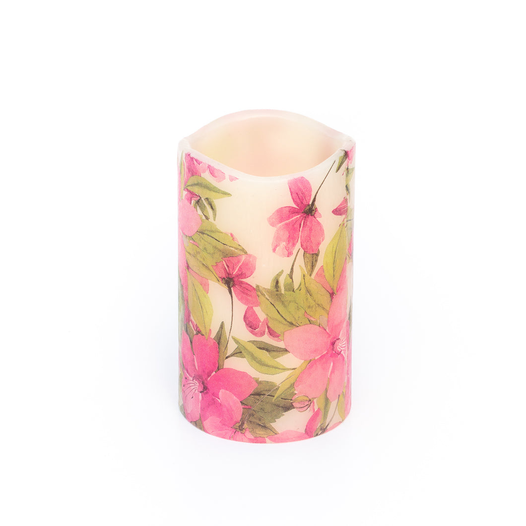 led battery candle with pink floral design