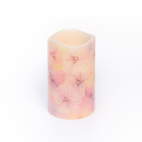 pink floral flameless candle