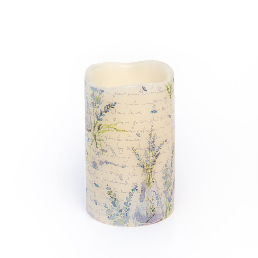 white flameless candle with purple lavender image