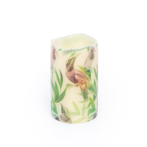 white led pillar candle with tropical bird design