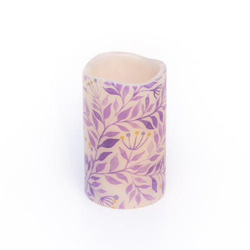 pet safe led candle with purple leaf pattern