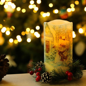 christmas led candles lit centrepiece - the sage haven, ireland