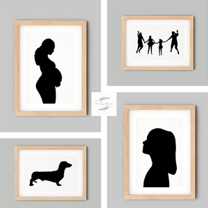 collage of framed silhouette prints