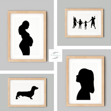 Load image into Gallery viewer, collage of framed custom silhouettes
