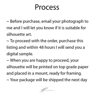 process for ordering silhouette art from the sage haven