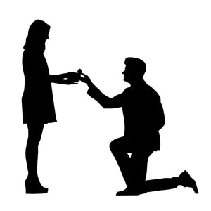 marriage proposal silhouette of man and woman
