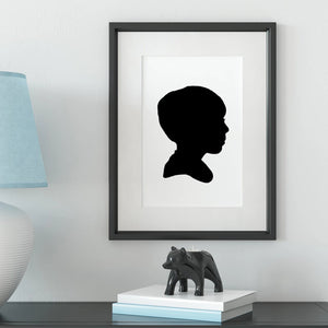 custom child silhouette art - 12x10 - framed on wall - the sage haven ireland
