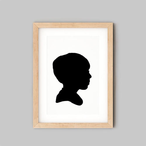 Personalised Family Art Ireland - Custom Child Silhouette - 12x10 - plain frame - the sage haven ireland