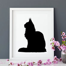 Load image into Gallery viewer, cat silhouette in white frame