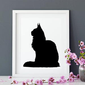 cat silhouette in white frame