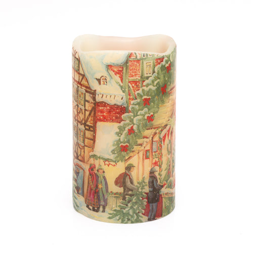 LED Holiday Candle depicting scene from traditional christmas market - the sage haven, ireland