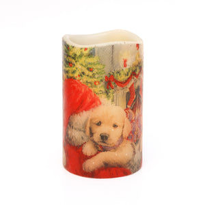 LED Christmas Candles - Santa & Puppy Decorative Candle  - the sage haven, ireland
